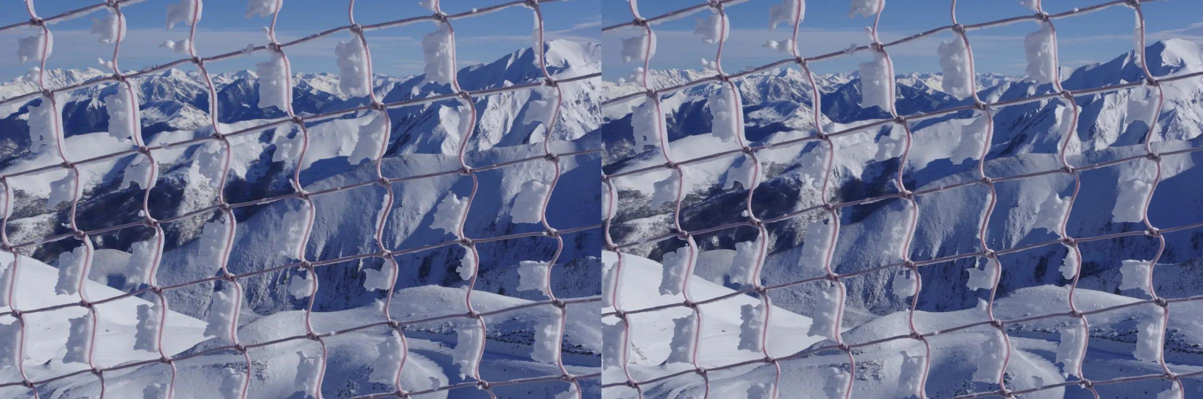 Snowy net in the Pyrenees
