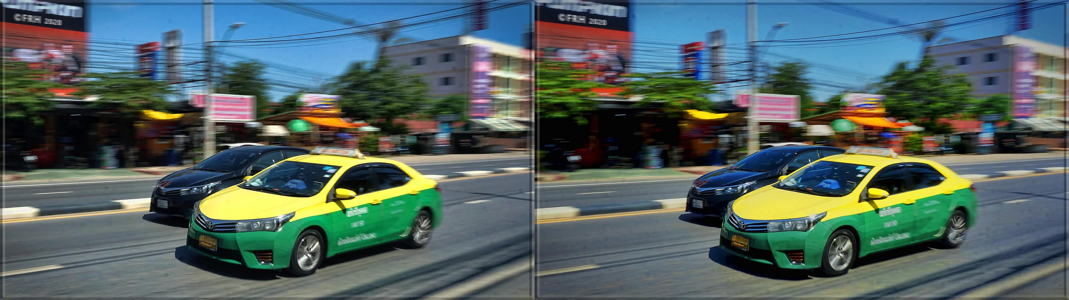 Blurry Green and Yellow Taxi