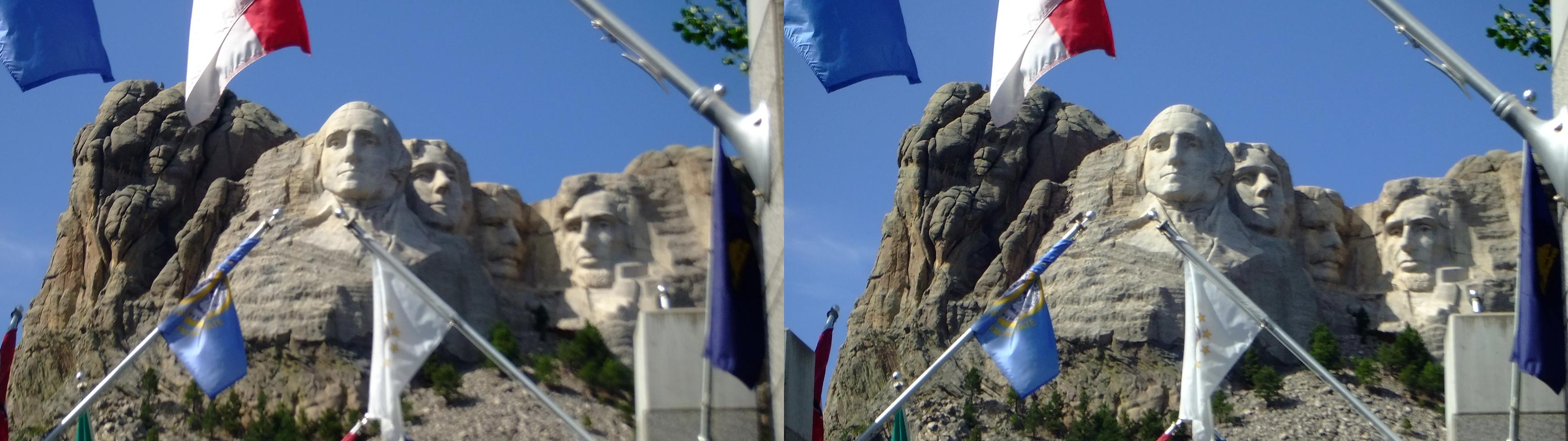 Mt. Rushmore & flags