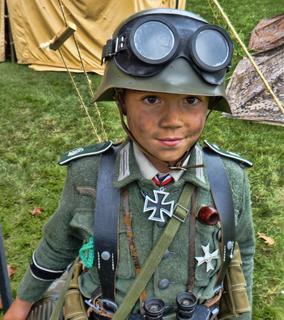 Collings Foundation WORLD WAR II Re-enactment Young German Soldier w Goggles on Helmet