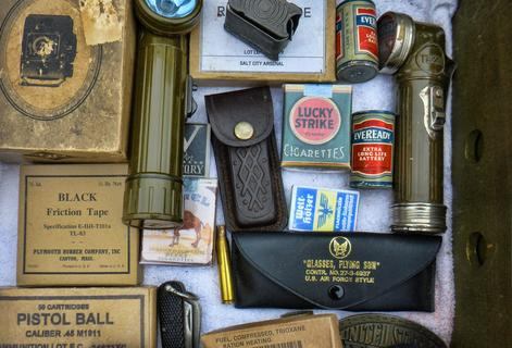 Collings Foundation WORLD WAR II Re-enactment Personal Supplies w Cigarettes and Batteries