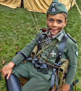 Collings Foundation WORLD WAR II Re-enactment Young German Soldier w Pipe
