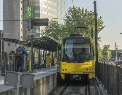 SIG Tram leaving Jaarbeursplein Utrecht, May 29th 2020